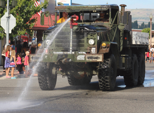 The Douglas Okanogan Fire District 15 water tender made a splash.