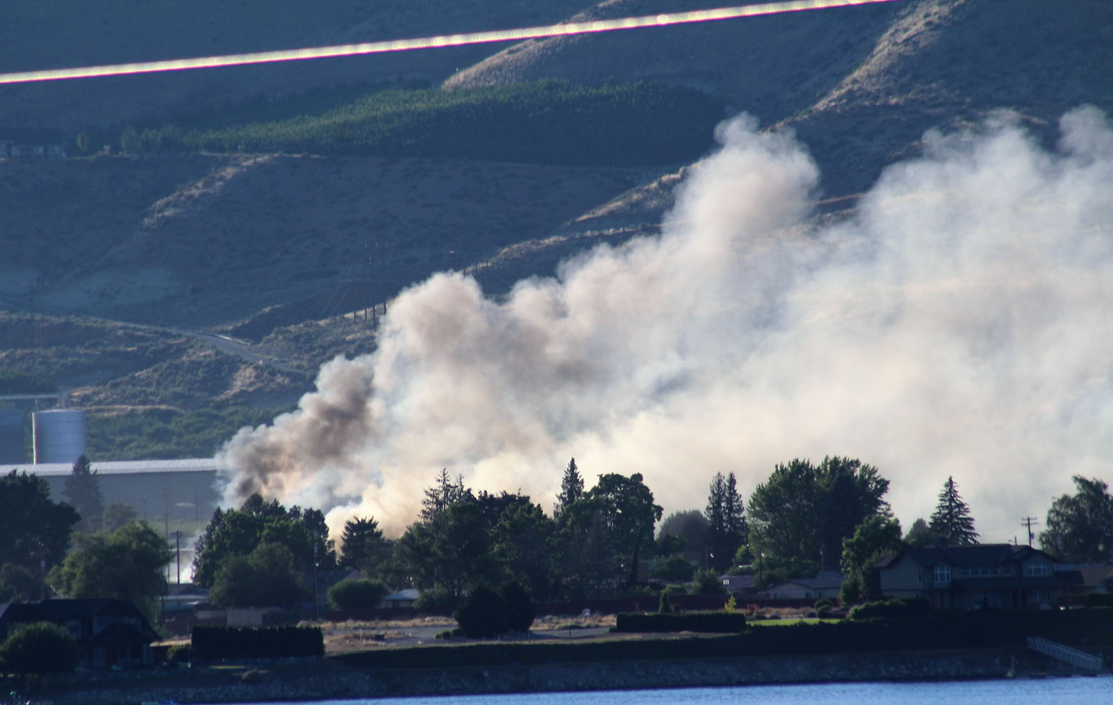 Smoke was clearly visible from the south shore of the Columbia River near Brewster.