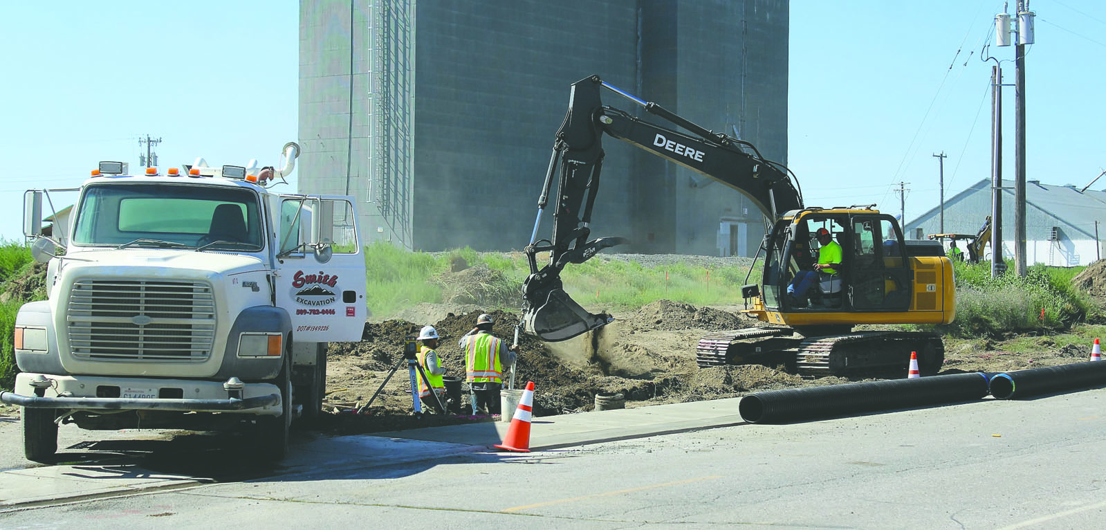 Crews were busy with excavation work along Railroad Avenue