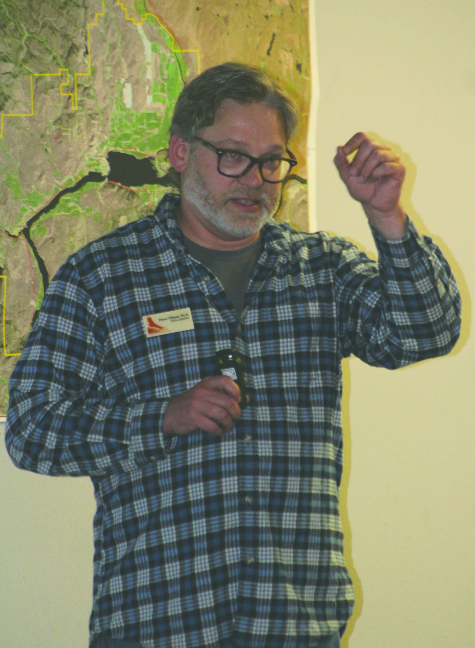 Dave Oleyar, Ph. D, representing HawkWatch International presented a slide show and lecture on Migration and Raptor Identification to more than 50 interested listeners at the Pateros Fire Hall last Friday evening. Photo: Dave Oleyar, Ph.D.