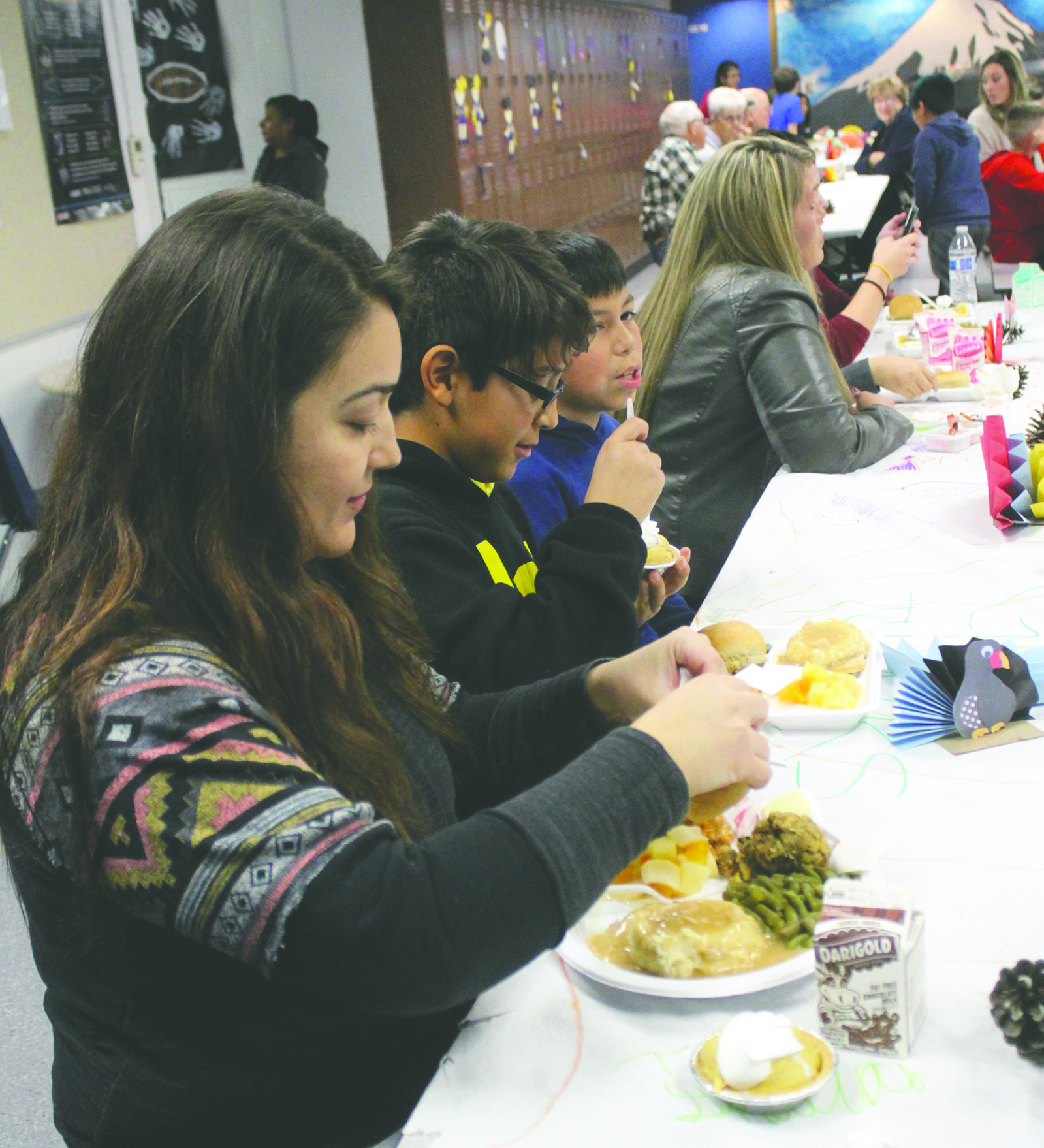 Cecelia Arellano stepped away from her duties as City of Pateros deputy clerk long enough to join 11-year-old son, Ishmael, a Pateros sixth grader, for Thanksgiving lunch served on Wednesday, Nov. 15, at the Pateros school.